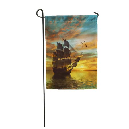 LADDKE Ship Sailboat Against Beautiful Landscape Winter Black Bright Celestial Cold Cycle Garden Flag Decorative Flag House Banner 28x40 inch