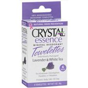Crystal Essence Mineral Deodorant Towelettes-Lavender & White Tea Box Crystal Body Deodorant 6 pc Pack
