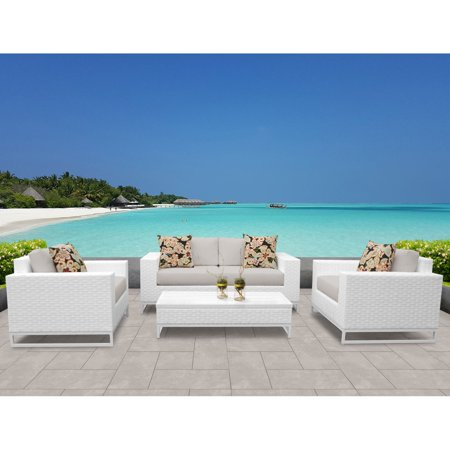 TK Classics Miami Wicker 5 Piece Patio Conversation Set with Coffee Table ()