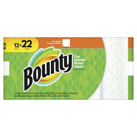 Bounty Perforated Paper Towel Roll (Bounty Paper Towels, White, 12 Super Rolls = 22 Regular Rolls)