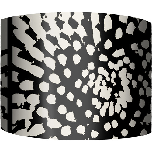 """12"""" Drum Lampshade, Black and White Flower Burst by"""