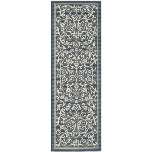Safavieh Courtyard Navy & Beige Outdoor/Indoor Area Rug II