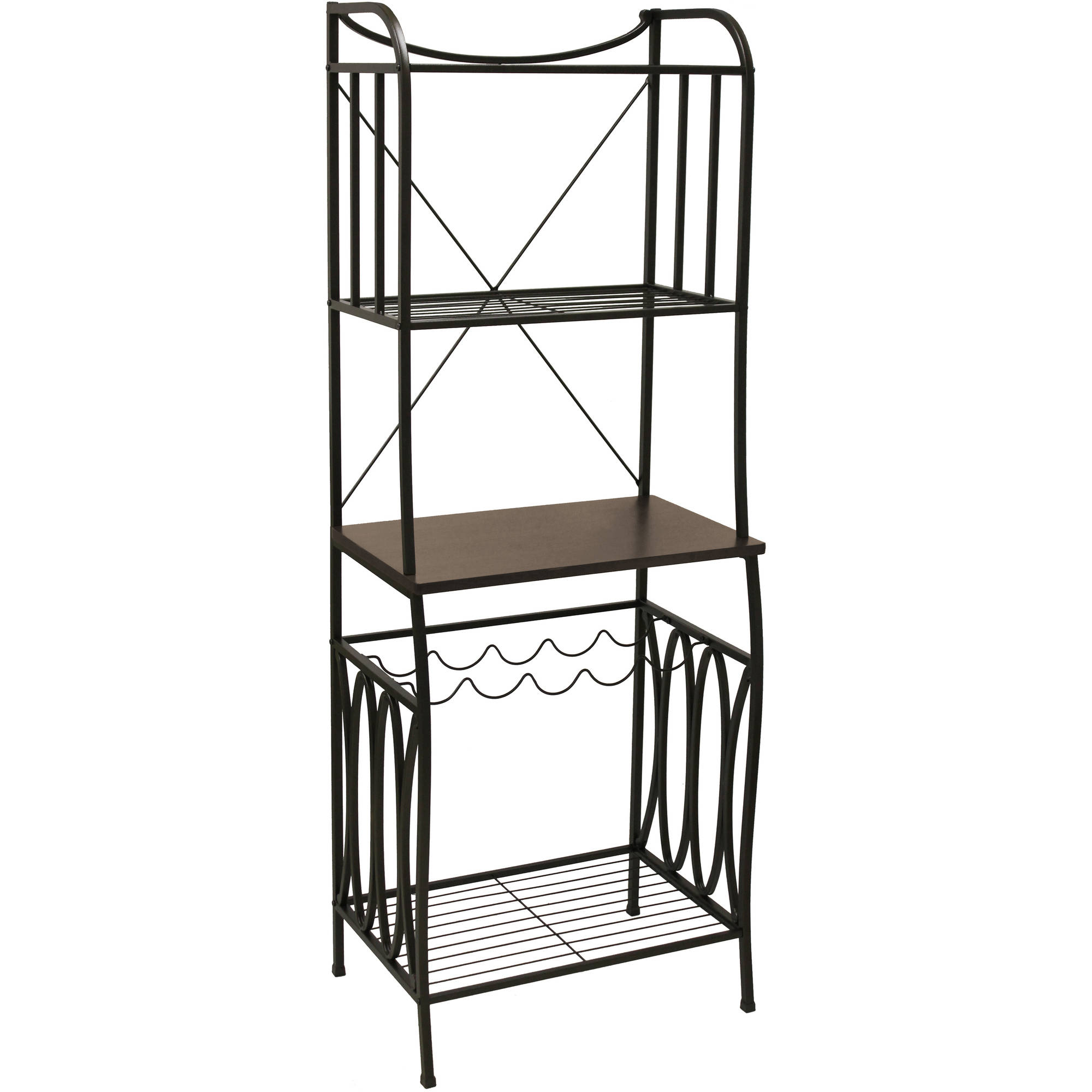 Better Homes and Gardens Mixed Material Baker's Rack, Mahogany Finish