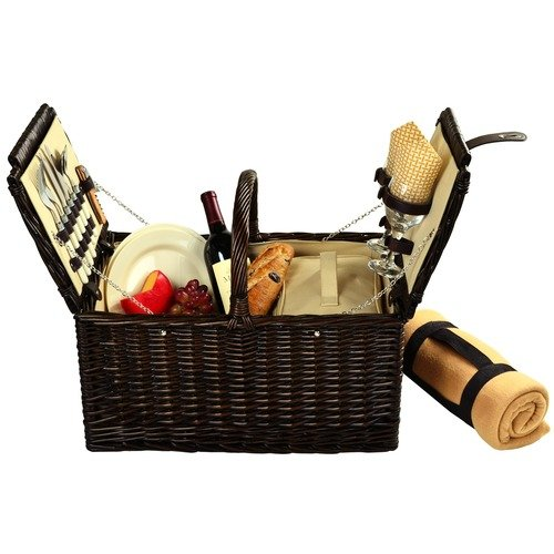 Picnic at Ascot Surrey Willow Picnic Basket with Service for 2 with Blanket and Coffee Set - London Plaid (713BC-L)