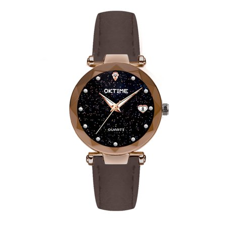 Women Fashion Brilliant Starry Night Dial Watch Lady Exquisite Heart-Shaped Calendar Quartz Wrist Watch Calendar Quartz Wrist Watch