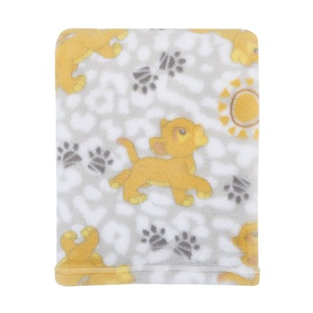 Disney Lion King Plush Grey, Gold Baby Blanket - Baby Lion King