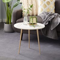 """Decmode Round Light Marble Accent Table With Gold Patterned Inlay And Metal Base, 22"""" X 20"""""""