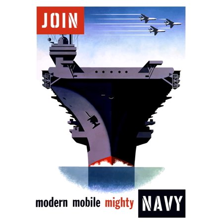 Overhead Mobile - Vintage World War II poster of an aircraft carrier with three planes flying overhead It reads Modern Mobile Mighty Join Navy Poster Print