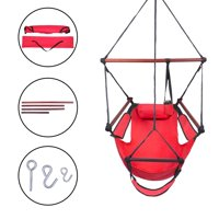 Ktaxon Upgraded Unique Hammock Hanging Sky Chair, Air Deluxe Swing Seat with Rope Through The Bars Safer Relax