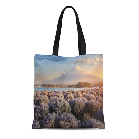LADDKE Canvas Tote Bag Beautiful Scenery During Sunset of Mountain Fuji and Flower Durable Reusable Shopping Shoulder Grocery (Fuji Flower)