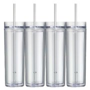 16 Oz  Clear Skinny Acrylic Tumbler Double Wall 4 pack