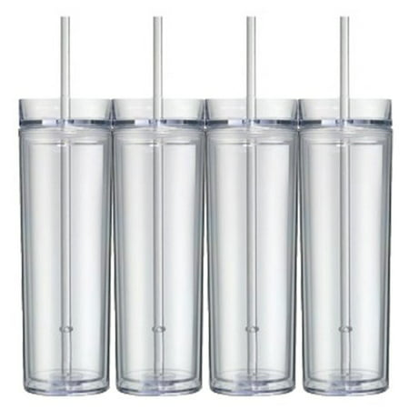 - 16 Oz  Clear Skinny Acrylic Tumbler Double Wall 4 pack