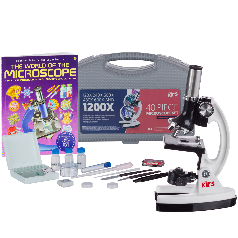 AMSCOPE-KIDS 120X-1200X 48pc Metal Arm Educational Starter Biological Microscope Kit + Book New