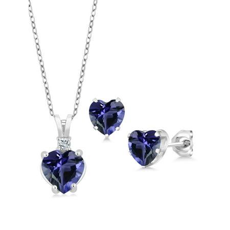Iolite Set - 2.49 Ct Heart Shape Blue Iolite 925 Sterling Silver Pendant Earrings Set