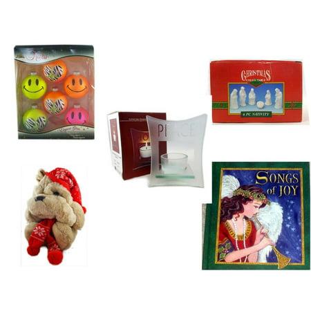 Glass Nativity Set (Christmas Fun Gift Bundle [5 Piece] - Krebs Bright Neon Glass Ornaments Set of 6 -  Collectable 6 Piece Nativity Porcelain 3.5