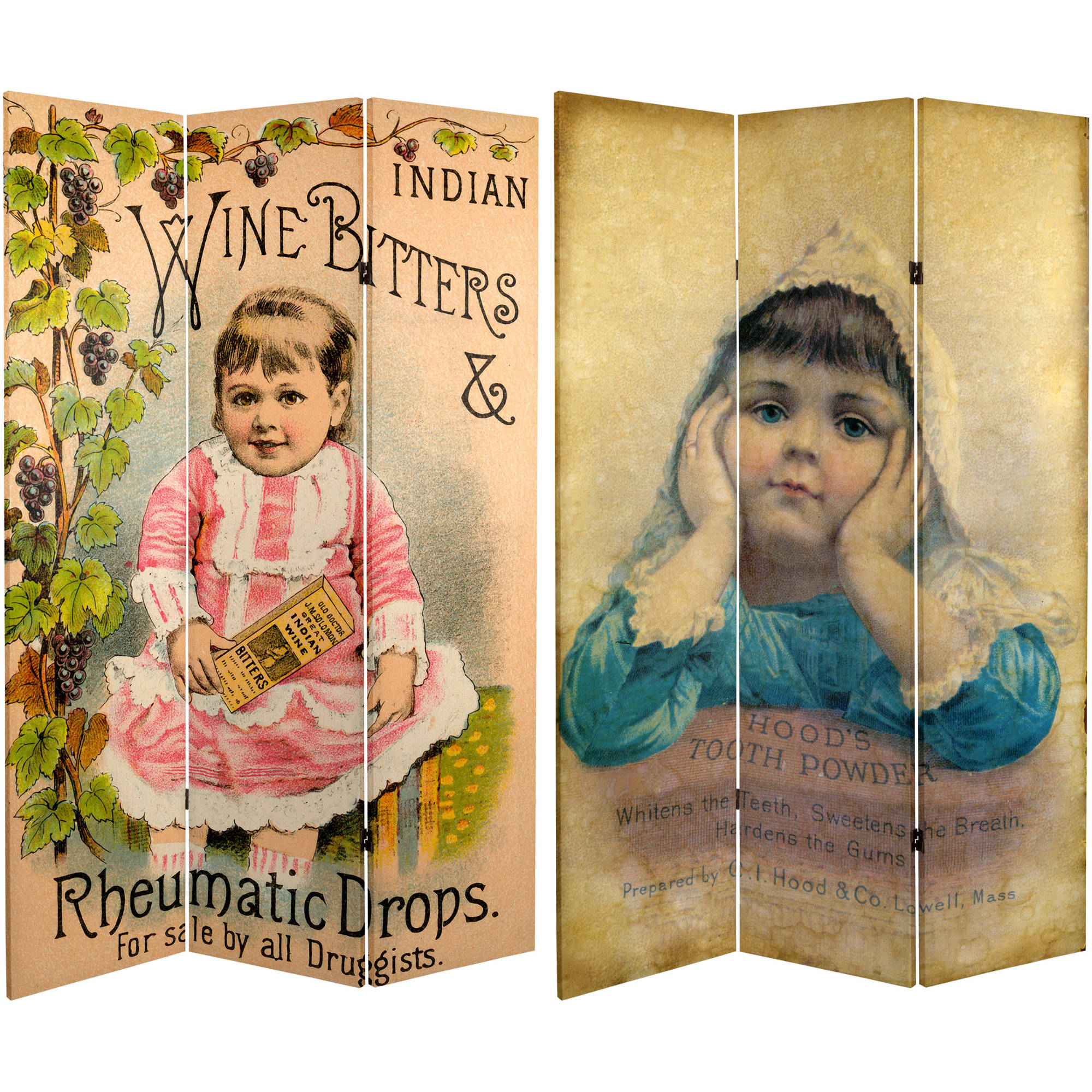 6' Tall Double Sided Vintage Children Canvas Room Divider