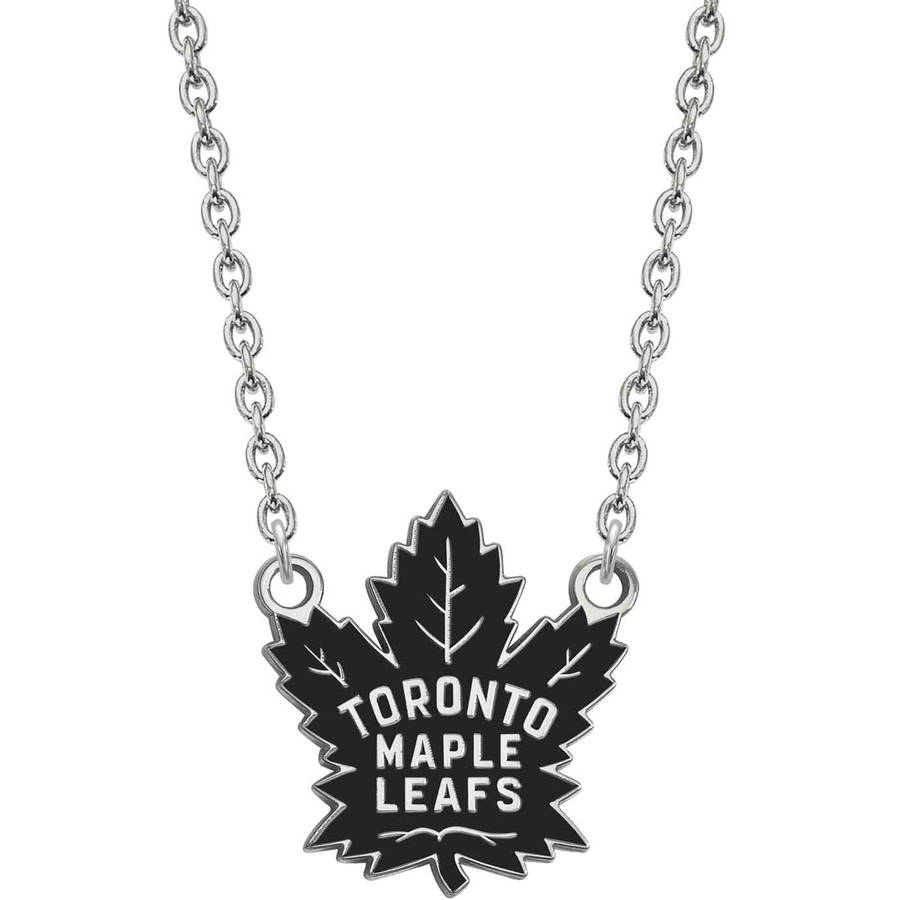LogoArt NHL Toronto Maple Leafs Sterling Silver Large Enameled Pendant with Necklace