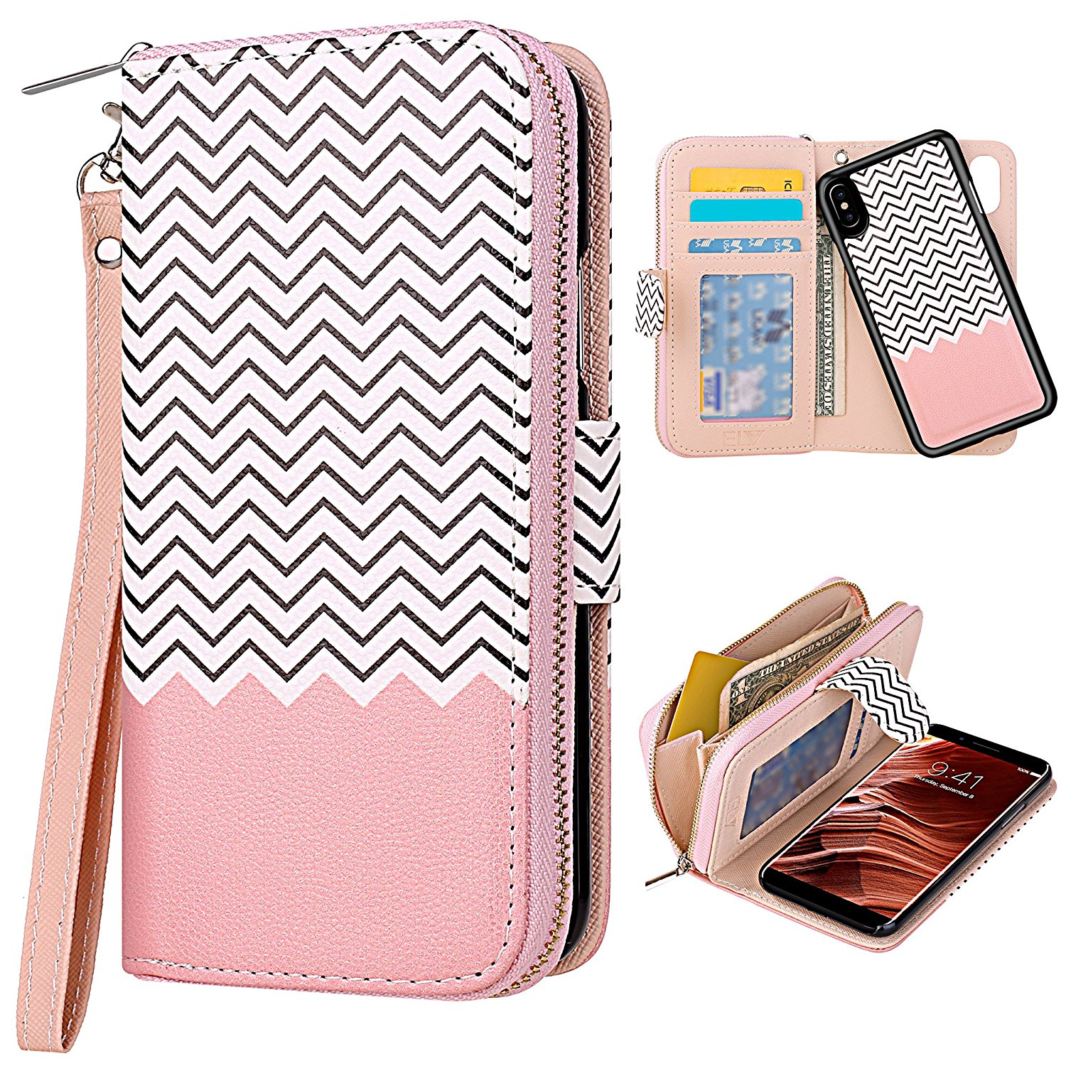 iPhone X Case [Cards Slot Pocket], ELV iPhone X Flip Case [PU Leather] Folio Wallet Purse Protective Magnetic-Closer [Pull tab] Case Cover for Apple iPhone X - FTS
