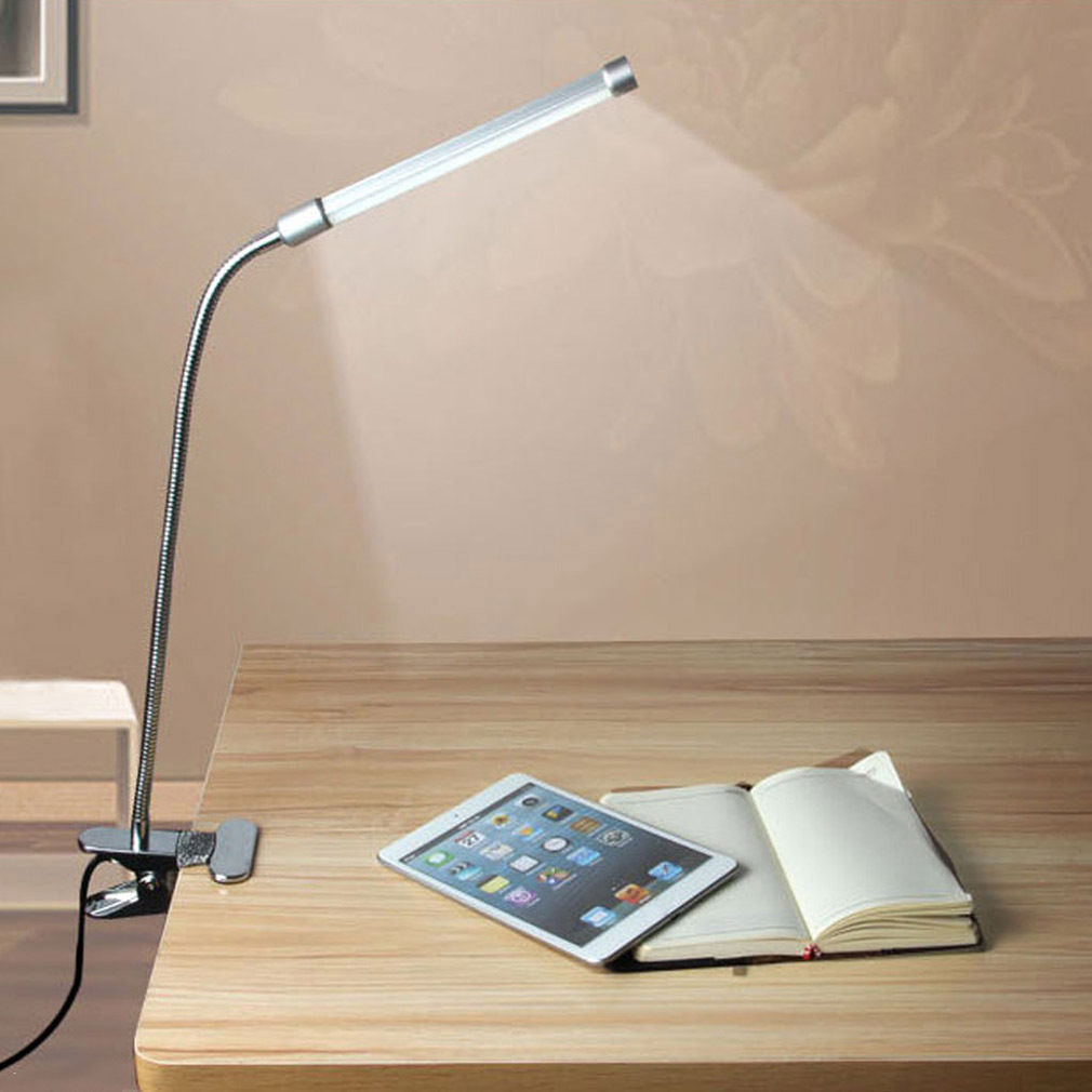 Blue Adjustable LED USB Lamp Clip-on Flexible Desk Reading Light Eye Protection by