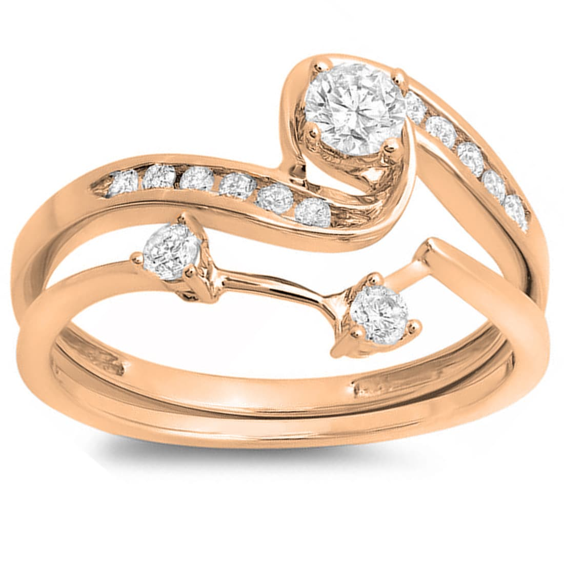 Elora  10k Rose Gold 1/2ct TDW Round Diamond Swirl Bridal Band Set