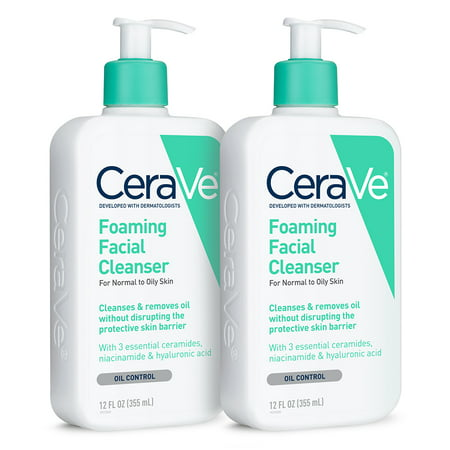 (2 Pack) CeraVe Foaming Face Wash, Cleanser for Normal to Oily Skin, 12