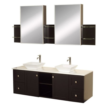 Medicine Cabinet Acrylic Countertop (Wyndham Collection Avara 60 inch Double Bathroom Vanity in Espresso, White Man-Made Stone Countertop, Pyra White Porcelain Sinks, and Medicine Cabinets)