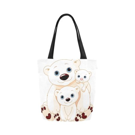 ASHLEIGH Mommy and Daddy bears with their babies Canvas Tote Bag Reusable Collapsible Durable Grocery Shopping (Bears Collapsible)