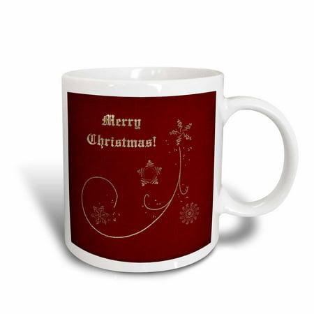 3dRose Merry Christmas on Elegant Red with Gold Snowflakes and Stars, Ceramic Mug, 15-ounce (Snowflake Mug)