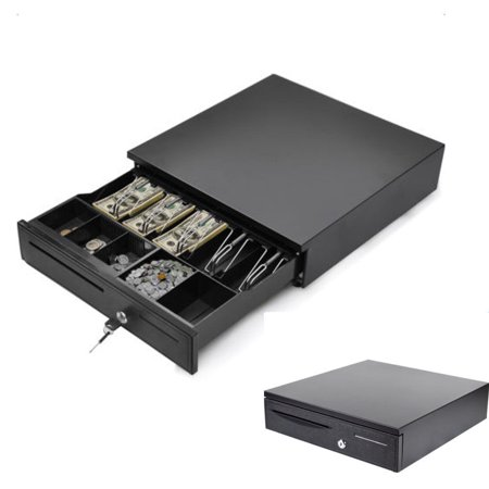 Zimtown 5 Bill 5 Coin Cash Register Drawer For Point Of Sale  Pos  System With Removable Coin Tray   24V  Rj11 Key Lock  Media Slot  Black  40Cm X 42Cm X 10Cm