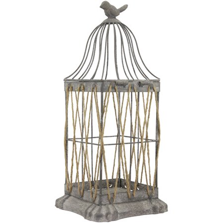 CKK Home Decor Vintage Zinc and Twine Bird Cage Lantern - Vintage Birdcage