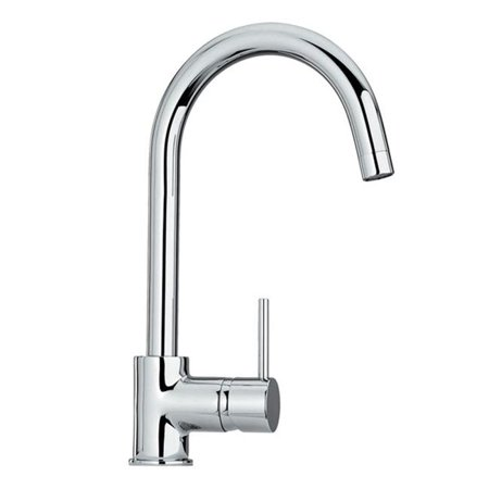 Alfi Trade WHLX78572 7 in. Luxe single hole-single lever faucet with gooseneck swivel spout- Polished Chrome
