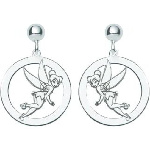 Sterling Silver Disney Fairy Tinker Bell Earrings