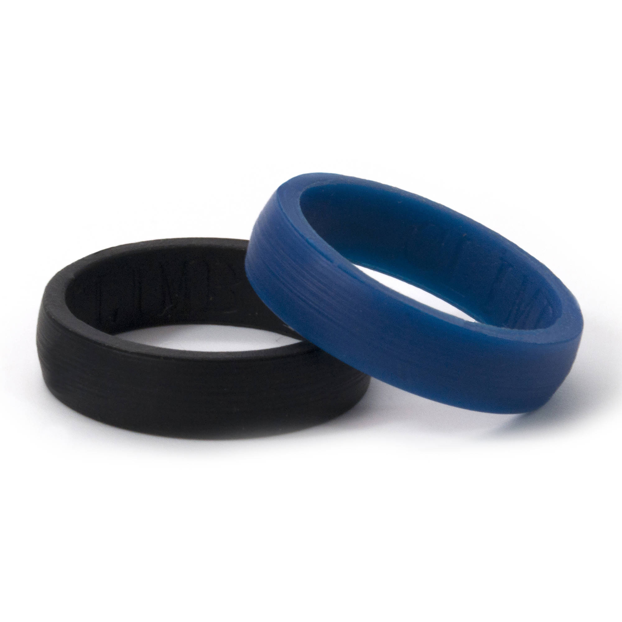 6mm HR Black and Blue Silicone Rings, 2-Pack