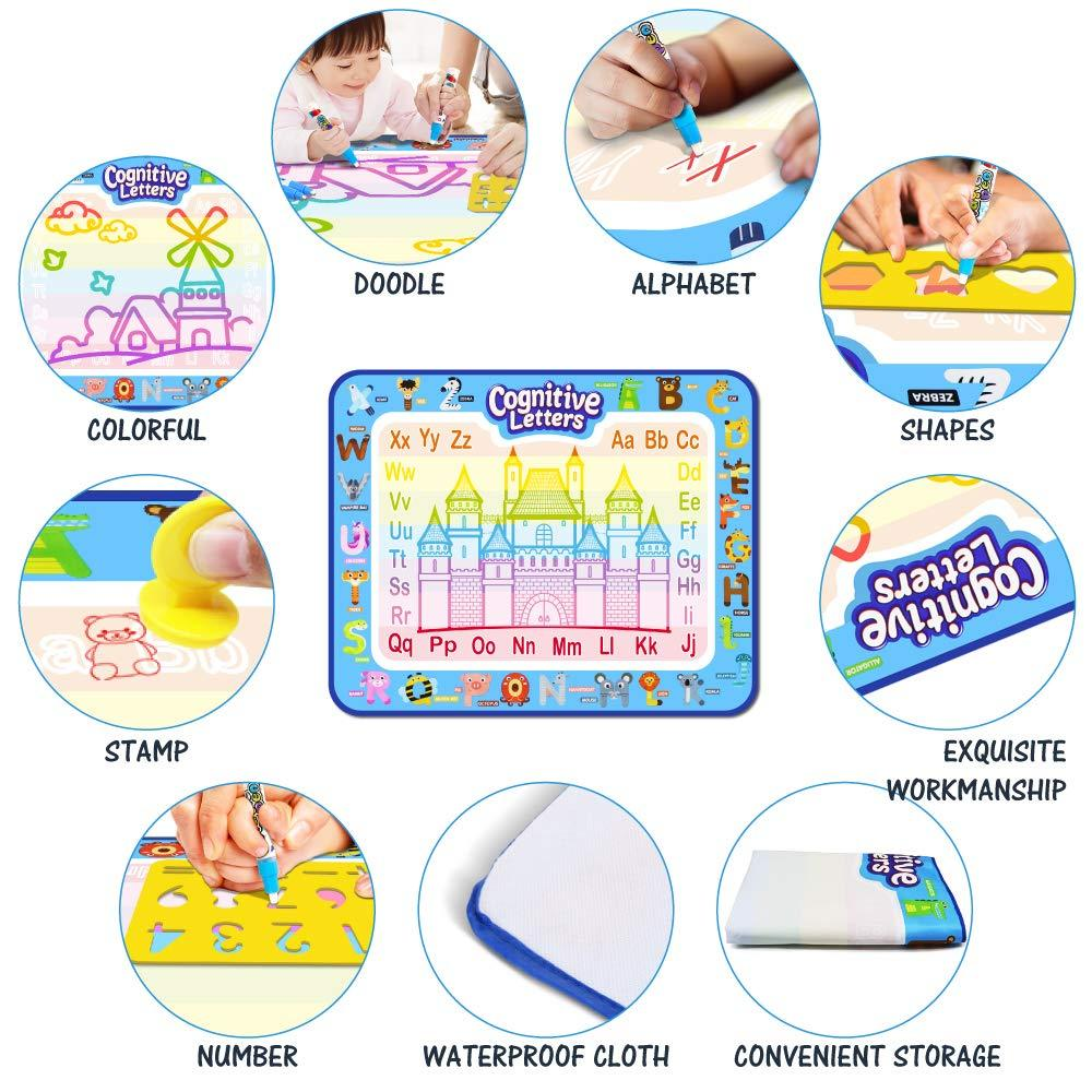 87x58cm,50x36cm,39x29cm ,Magic Water Drawing Learning Painting Doodle Scribble Boards with Magic 2 Pen for Kids callm Large Magic Doodle Mat//Water Drawing Painting Mat