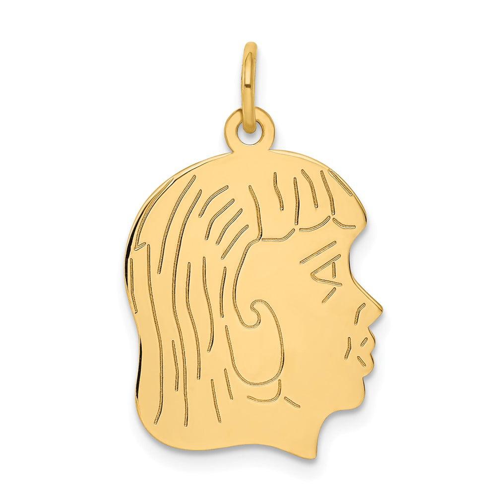 14k Yellow Gold Engravable Girl Head Charm Pendant