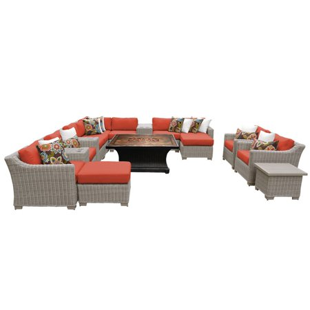 Tk Clics Coast 17 Piece Wicker Patio Furniture Set With Fire Pit Table