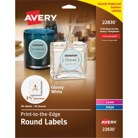 Avery(R) Print-to-the-Edge True Print(TM) Glossy Round Labels 22830, 2-1/2