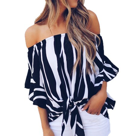 Women's Off Shoulder Striped Batwing Sleeve Shirts
