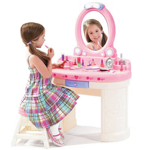 Step2 Fantasy Vanity with Shatterproof Plastic Mirror and Sturdy Matching Stool