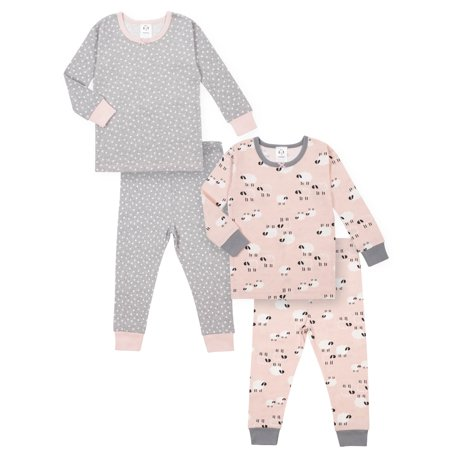 Glow In The Dark Girls Pajamas (Gerber Baby Toddler Girl Snug Fit Organic Cotton Pajamas, 4pc)