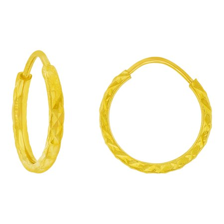 14k Yellow God, Small Classic Thin Hollow Tube Endless Sparkly Earring 12mm Inner Diameter