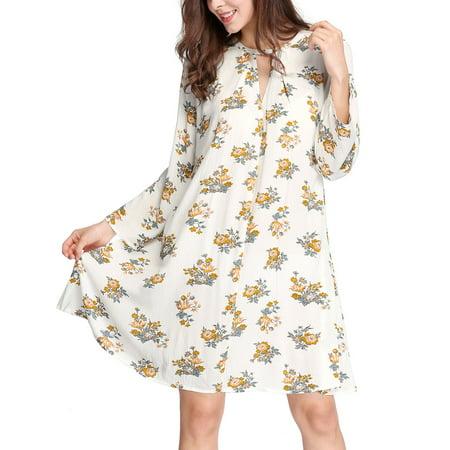 Women Keyhole Front Floral Prints Loose Swing Dress