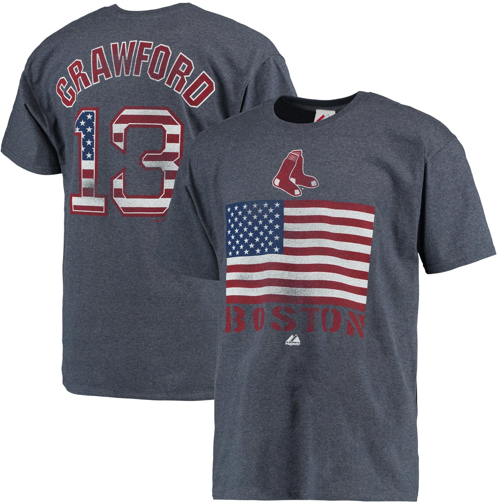Carl Crawford Boston Red Sox Majestic Threads Stars & Stripes T-Shirt - Heathered Navy