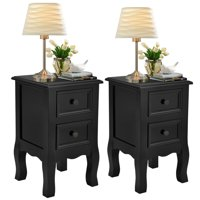 Costway 2PCS Black Night Stand  w/ 2 Storage Drawers, Wood End Accent Table