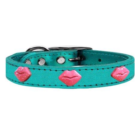 Pink Glitter Lips Widget Genuine Metallic Leather Dog Collar Turquoise