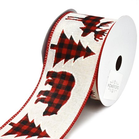 Holiday Cut Outs in Buffalo Plaid Wired Christmas Ribbon, 2-1/2-Inch, 10-Yard for $<!---->