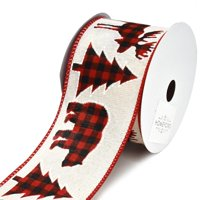 Holiday Cut Outs in Buffalo Plaid Wired Christmas Ribbon, 2-1/2-Inch, 10-Yard