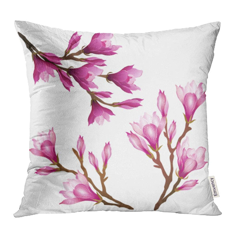 ARHOME Pink Magnolia Flowers Brush Illustrations Blooming Branches on White Purple Pillowcase Cushion Cases 18x18 inch