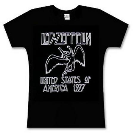 Led Zeppelin 1977 American Tour Black Juniors T-Shirt