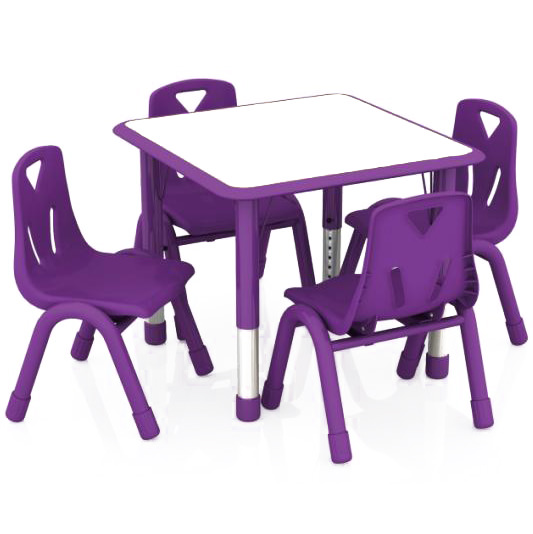 Ordinaire 2xhome   Purple Kids Table And Chairs Set Height Adjustable Rectangle  Activity Table Preschool Table Childs Bright Color Table School